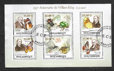 Mosambik 2009-Wiliam Kirby -motýli,vosík, květolib, hrobařík, potápník