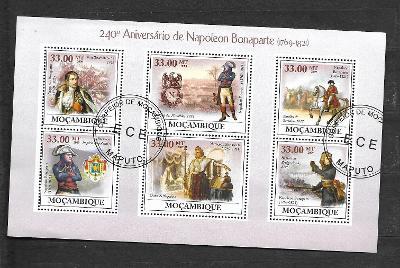 Mosambik 2009  - Napoleon Bonaparte, koně, bitva u Waterloo