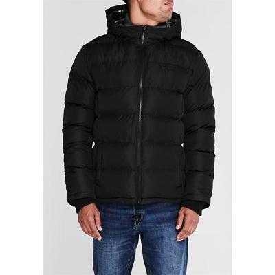 Pánská černá prošívaná zimní bunda LEE COOPER s kapucí,  XXXXL (4XL)