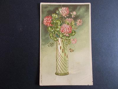 Pohlednice jmeniny přání květy kytice jetel  čtyřlístek tlačená DA