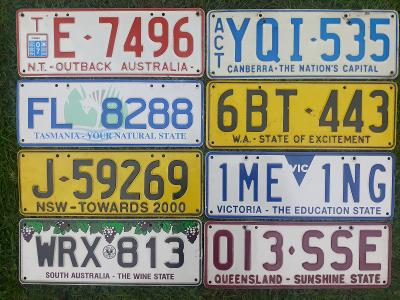 Originál SPZ státy-teritoria Austrálie, plech. cedule, 8ks, sbírka č.2