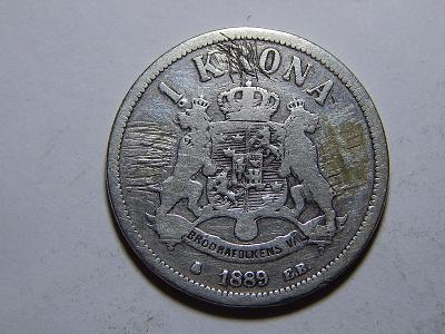 Švédsko 1 Krona 1889EB F-VF č20835