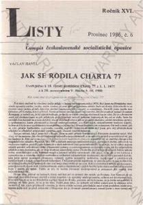 Listy roč. XVI. 1986 č.6. řídí Jiří Pelikán