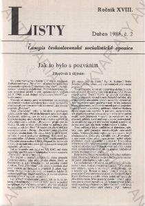 Listy roč. XVIII. 1988 č.2. řídí Jiří Pelikán