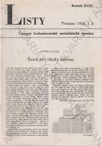 Listy roč. XVIII. 1988 č.6. řídí Jiří Pelikán