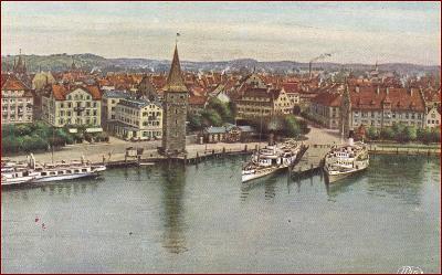 Lindau (Bodensee) * lodě, parník, část města * Německo * Z2034