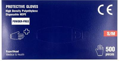 Jednorázové ochranné rukavice S M L XL HDPE 500 ks