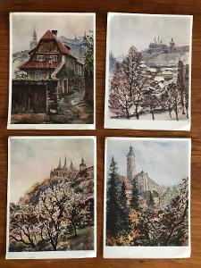 Kutná Hora – Jaroslav Moucha – čtyři pohlednice – VF, neprošlé