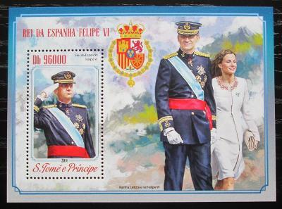 Svatý Tomáš 2014 Španělský královský pár Mi# Block 1031 Kat 10€ 1527