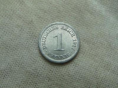 1 Pfennig 1917 J Německé císařství - TOP STAV - RL !!!