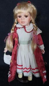 Krásná, porcelánová panenka na stojanu...(11948)
