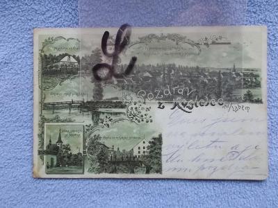 Mělník Kostelec nad Labem litografie koláž myslivna mlýn 1899 DA