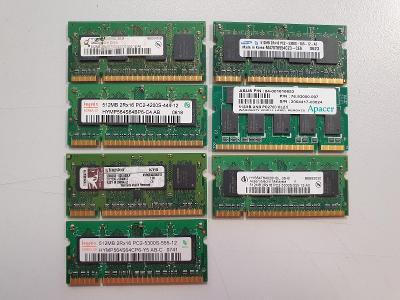 Notebookové RAM | 512MB moduly | DDR2 SO-DIMM | Kingston/Samsung/Hynix