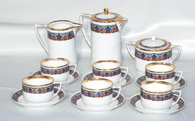 Starý porcelánový kávový servis lidová malírna
