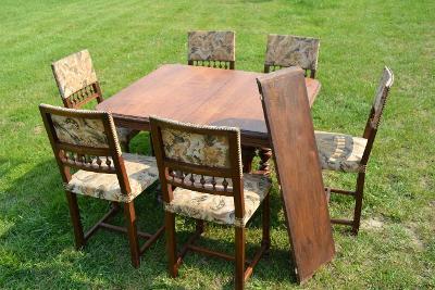 Dubový rozkládací stůl a 6 židlí