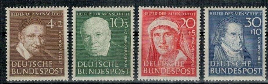 Německo BRD SRN 1951 Známky Mi 143-146 ** zdravotní sestřička teolog