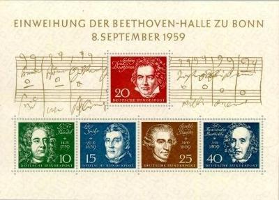 Německo BRD SRN 1959 Známky aršík Mi 2 ** hudba skladatel Beethoven