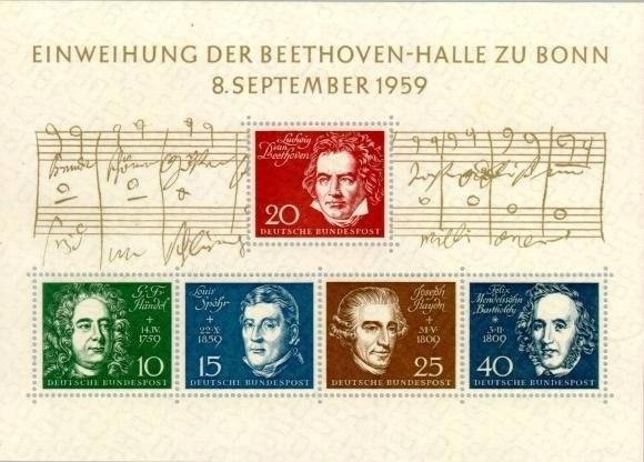 Německo BRD SRN 1959 Známky aršík Mi 2 ** hudba skladatel Beethoven - Filatelie