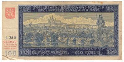 1940 (B+M) - Bankovka 100 K, NEperforovaná, série 32B, I. vydání (6067