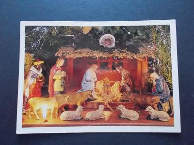 Veselé vánoce betlém figurka foto Průša  prošlá se známkou 1996 ovečky