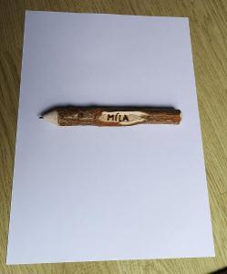 Dřevěná PROPISKA/tužka RUČNÍ PRÁCE!!! DÁREK! Možnost vyrýt jméno!