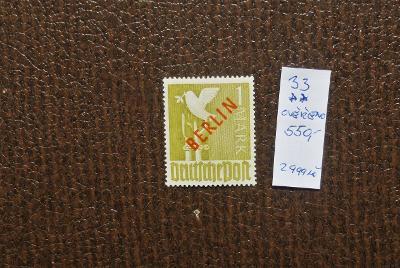 NĚMECKO BERLÍN 1949 Mi 33 OVĚŘENO SVĚŽÍ** VÝBORNÝ STAV KAT. 550 EUR!!!