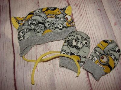 Bavlněná čepička a rukavičky MIMONI 6-12 měsíců