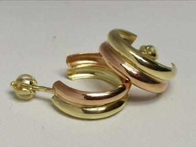 Zlaté naušnice kruhy na šroubek