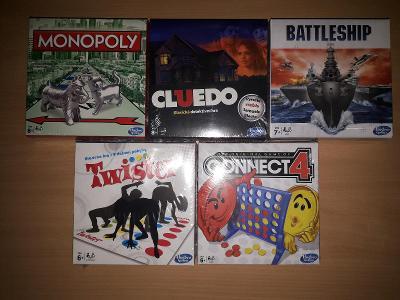 NOVÝ set 5 her HASBRO - Monopoly, Cluedo, Twister a další 2 hry