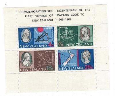 Nový Zéland 1969 Známky aršík Mi 1 ** James Cook loď rostliny mapa