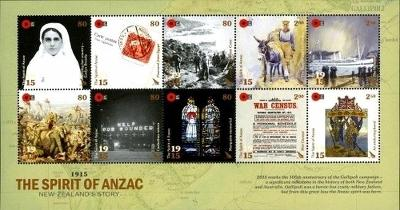 Nový Zéland 2015 Známky aršík Mi 3226-35 ** první světová válka plakat