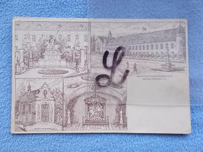 Brno městská část Královo Pole Vzorem Stará rytina DA koláž litografie