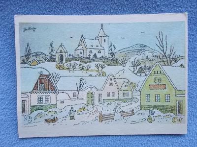 Umělecká pohlednice Josef Lada malíř Odeon zima vánoce sáně kostel