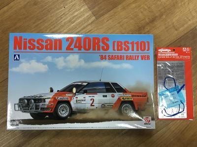 Nissan 240RS (BS110) '84 Safari rally + fotolepty 1/24 Beemax Aoshima
