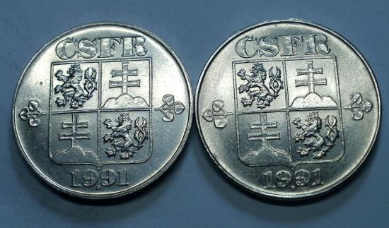 5KČS 1991 R VZÁCNÉ OBĚ VARIANTY TOP STAV RL - Numismatika