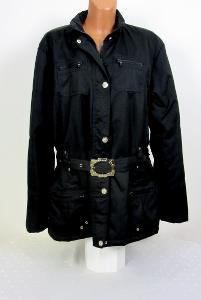 Černá zimní bunda s páskem vel: XL/XXL