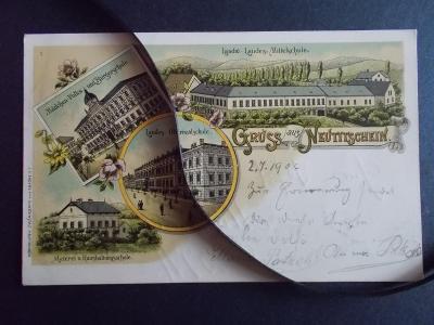 Nový Jičín Neu Titschein všechny školy ve městě litografie dlouhá adr.