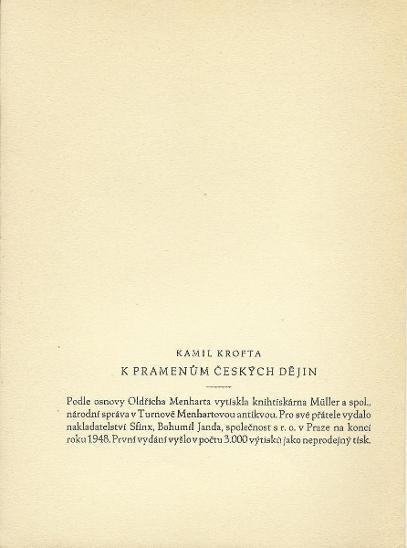 Kamil Krofta: K pramenům českých dějin (bibliofilie, Sfinx, 1948) - Knihy