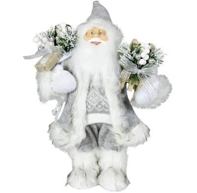 Vánoční dekorace Santa Ježíšek v šedém kabátku 30 cm