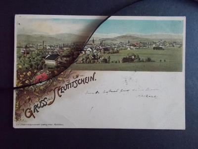 Nový Jičín Neu Titschein  znak erb litografie  koláž 1897 !!!