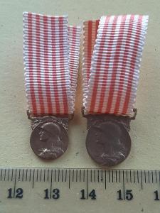 Pamětní medaile 1914 - 1918 - 2x VARIANTA - MINIATURA, Francie, MORLON