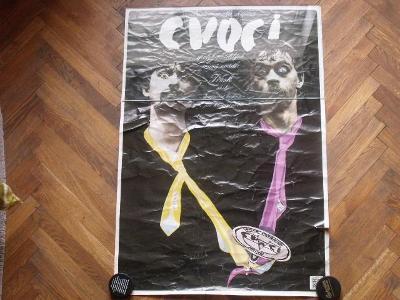 """starý plakát pantomimické skupiny CVOCI na představení """"TŘESK"""" (1979)"""