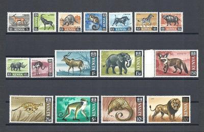 Keňa 1966-69 Známky Mi 20-35 ** Zvířata Lev slon opice