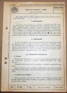 STARÁ NORMA ČSN 65 7165 1958 PASTA NA PARKETY TUHÁ NÁLEZ