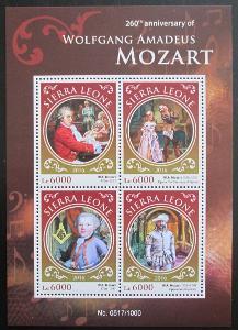 Sierra Leone 2016 Wolfgang Amadeus Mozart Mi# 6918-21 Kat 11€ 0989A