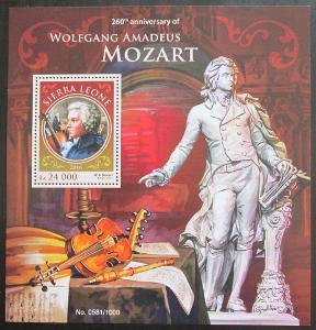 Sierra Leone 2016 Wolfgang Amadeus Mozart Mi# Block 916 Kat 11€ 0990A