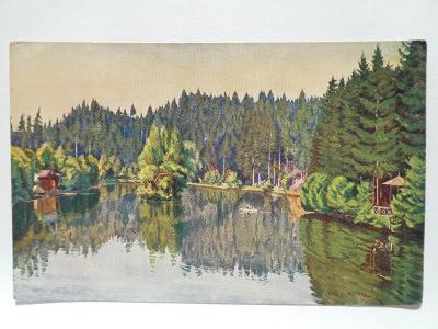 Rychnov nad Kněžnou - Ivanské jezero ve Včelném - malíř Václ. Seidel