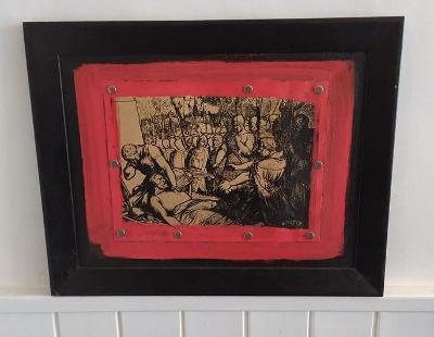 zajímavý obraz Jan Žižka umírající , tisk na papír