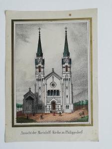 Kolorovaný pohled na poutní kostel Filipsdorf - 19. stol.