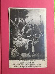 pohlednice z roku 1934 SPÍCÍ JEŽÍŠEK made in France 13,9 x 8,9 cm